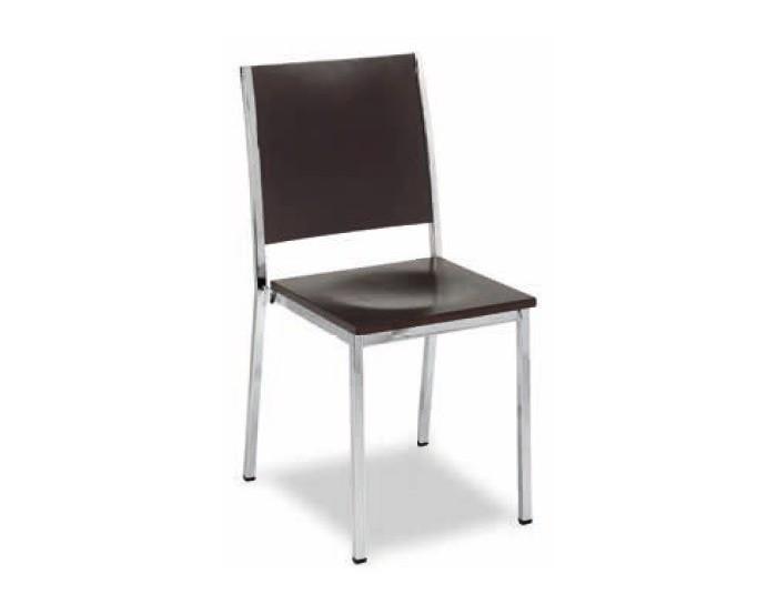 Silla M138 estructura acero plastificado, asiento madera